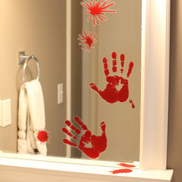 Wholesale Window Clings Halloween - Halloween Decoration Prop Window Mirror Clings Cling Bloody Handprint Spot Decoration