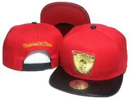 Wholesale Mitchell Ness Football Hats - 2016 Top Quality red black mitchell & ness football snapback hats metal team logo snap back sports caps 1 pcs free drop shipping DD