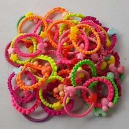Wholesale Korean Cartoon Ring - Wholesale- TS Free shipping Korean children's cartoon candy-colored rubber band headband hair accessories hair ring headwear Children Gift