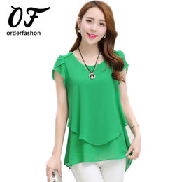 Wholesale Double Chiffon - Wholesale-2016 Summer Plus Size Women Chiffon Blouses Shirt O Neck Short Sleeve Double Irregular Solid Fashion Casual Lady Top Women Blusa