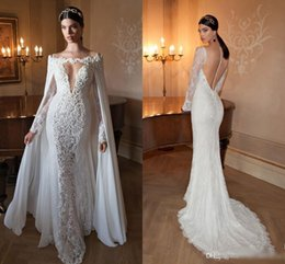 Wholesale Long Red Wedding Cloak - 2017 Arabic Berta Lace Wedding Dresses Sexy Long Sleeves Sheer Button Illusion Back Lace Appliques Sequin Gowns Bateau Neck with Cloak