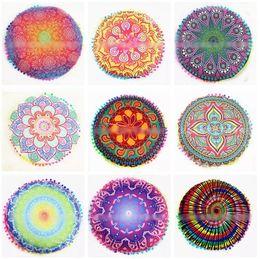 Wholesale Cushion Covers Round - 36 Designs 43*43cm Round Cushion Pillow Covers Mandala Floor Pillow Cover Indian Bohemian Throw Pillow Case CCA6887 30pcs