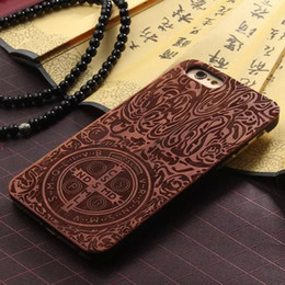 Wholesale Wholesale Hand Carved Wooden - For iphone7 6 7plus Fashion Wood Hard Wooden Natural Hand Made Carving Protector Back Cases Cover phone Case For iphone 7 6S plus