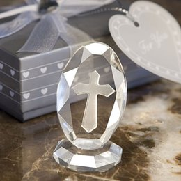 Wholesale Wholesale Baby Shower Cross - Wholesale- Wedding Favors and Gifts Crystal Cross Standing Baby Christening Gifts Baby Shower Favors First Communion Gifts