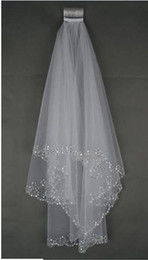 Wholesale elbow length veil beaded - Stunning Beads Two-Layer Short Bridal Veils With Sequins Edge Pearls Tulle Cheap Wedding Veil Wedding Accessory Free Shipping In Stock