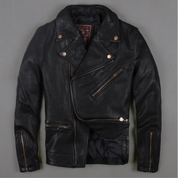 Wholesale Goat Leather Jacket Men - Fall-Factory 2016 black new men's Motorcycle Leather goat sheep skin leather jacket oblique zipper motorcycle clothing short coat