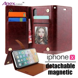 Wholesale Customize Phone Cases - For iPhone X 7 8 Plus Premium Wallet Case 2in1 Multi-functional PU Leather Phone Cases with Magnetic Magnet Detachable Removable PC Cover