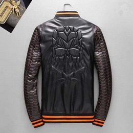 Wholesale Leather Sleeved Jackets Men - pp Luxury brand autumn fall faux leather jackets exquisite craft perfect version long-sleeved windcheater thin jacket letter pattern