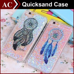 Wholesale Move Skin - Dreamcatcher Floating Glitter Star Running Quicksand Case Windbell Liquid Dynamic Hard PC Skin Moving Shining Cover For iPhone 6 6 Plus