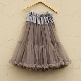 Wholesale Teenage Cloth Wholesale - Wholesale Extra fluffy Teenage girl Adualt women pettiskirt tutu Women tutu Party dance soft grey adult long skirt Performance cloth