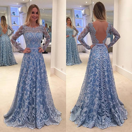 Wholesale Event Jackets - Custom Made 2017 Sky Blue Lace Arabic Evening Dresses Sheer Long Sleeves Bateau Neck Lace Appliques Sexy Backless Formal Prom Event Wears