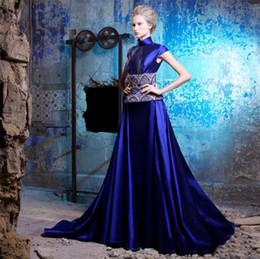 Wholesale Dress Taffeta Floor Length - Dark Blue Color Prom Dresses Cheap Luxury Taffeta Red Carpet Dresses Evening Wear Classic High-Neck Floor-length A-line Cocktail Prom Dress