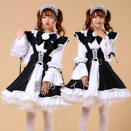 Wholesale Classic Maid Costume - Plus Size Women Sexy Maid Cosplay Costume Servant Classic Ladies Lolita Dress Japan Anime Cafe Work Wear Outfit Dress+Apron+Bowknot S-XXXL