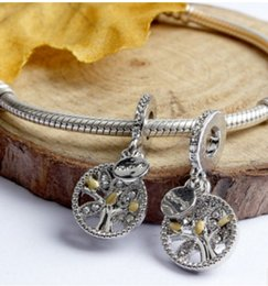 Wholesale Pendant Flower Life - Fit Pandora Charm Bracelet European Silver Bead Charm Family Heritage Tree Of Life With Crystal Pendant Beads DIY For Women Bangle Jewelry