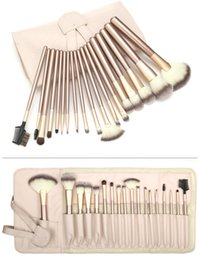 Wholesale Case Lips Leather - 12 18 24pcs Professional Makeup Brushes Set Kit Women's Foundation Powder Eyeliner Lip Brush Beauty Tools Powder Brush + Leather Case