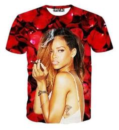 Wholesale Men Graphic Shirt - Newest style women men harajuku 3d t shirt character print smoking Rihanna graphic t shirts summer casual tee tops camiseta
