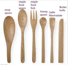 Wholesale Butter Spoon - ECO friendly Chestnut wood Dinnerware Sets soup spoon staple food spoon fork honey spoon ladle marmalade butter knife