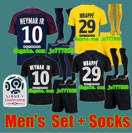 Wholesale Soccer Jerseys Paris - A++2017 2018 Best Quality Paris adult kit Football jersey 17 18 Saint Di Maria Matuidi Silva WIJNALDUM FIRMINO Cavani Football shirt + sock