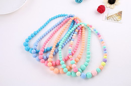 Wholesale Candy Color Bead Necklaces - Fashion Cute Children Colorful Acrylic Beads Necklace Jewelry Girl Kids Baby Candy Color Necklaces Christmas Gift