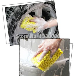 Wholesale Hot Rods Cars - New Fashion Hot Sale Square compressed Sponge Mini Yellow Car Auto Washing Cleaning Sponge Block Bubble Coral Sponge E5M1 order<$18no track