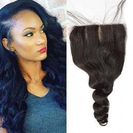 Wholesale Curly Virgin Malaysian Hair Styles - Virgin Malaysian Loose Wave Curly Human Hair 4x4 inch Silk Base Closure With Baby Hair Bleached Knots Free Parting Style G-EASY