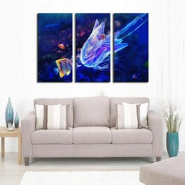Wholesale Jellyfish Decorations - 3 Picture Combination Wall Art Butterflyfish And Jellyfish Prints On Canvas The Picture Animal Pictures Oil For Home Decoration