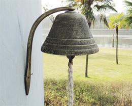 Wholesale Door Hanging Bells - Large Cast Iron Dinner Bell Welcome Hanging Bell Western Farm Ranch Patio Garden Gate Yard Door Bell Big Bell Outside Free Ship