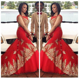 Wholesale Evening Gowns Hi Lo - Red Sheer Scoop Neck Mermaid Evening Dresses Negeria Style With Gold Lace Appliques Prom Party Gowns 2016 Slim Black Girls Cheap