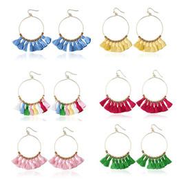 Wholesale Fringe Jewelry - Fashion luxury Vintage Bohemian Handmade Cotton Tassel Earrings for Women Ethnic Fringe Gold Plated Drop Earrings Party Jewelry