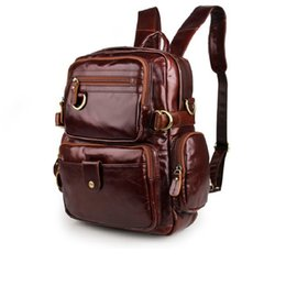 Wholesale Stylish Bags For Men - 2016 New High Quality 100% Genuine Leather Unisex Stylish Backpacks For College Popular Hiking Bag Shoulder Bag 7042