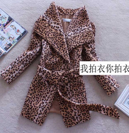 Wholesale Wide Leopard Print Belt - autumn and winter women fashion short leopard print turn-down collar flare sleeve lacing wool coat outerwear FY124