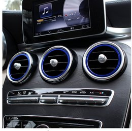 Wholesale blue line cars - 7pcs Car Interior Air Conditioning Outlet Decorative Cover Trims Inner Ring For Mercedes Benz New C class W205 2015-17