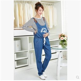 Wholesale Trouser Jeans For Pregnant Women - Maternity Denim Overalls Maternity Jeans for Pregnant Women Pregnancy Pantselastic waistband suspender trousers Belly Pants 4 seasons can be