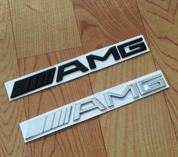 Wholesale Car Sticker Chrome - High quality Metal Silver Chrome Black 3M AMG Decal Sticker Logo Emblem Car Badges for Mercedes CL GL SL ML A B C E S class Car st
