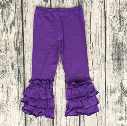 Wholesale Toddler Pant Cheap - Elegant Girl Fashion Pants Cheap Price Icing Baby Leggings For Toddler Girl Children Triple Ruffle Purple pants