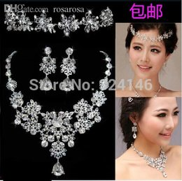 Wholesale Necklace Frontlet - Wholesale-2015 Own factory made rhinestone wedding jewelry set silver frontlet+necklace+earrings bridal jewelry set