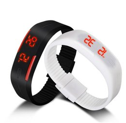 Wholesale Rectangle Magnets - Lowest price 2015 New Fashion Sport Watch For Men Women Kid Electronic Led Digital watches Jelly wristwatch Magnet buckle clock