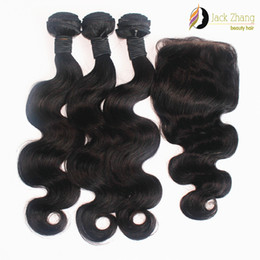 Wholesale Cambodian Body Wave 3pcs - 8A 100% Monglian Hair Weave Natural Color 3pcs Mixed Hair With 1pc Lace Closure Body Wave Burmese Vietnamese Cambodian Human Hair Extension