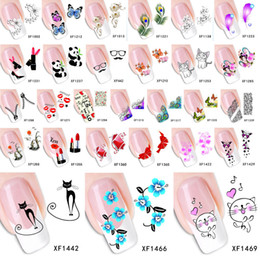 Wholesale Lip Stickers For Nails - Wholesale-Fashion Water Transfer Nail Art Decals Stickers Cartoon Cat Flower Lips Nail Sticker Decorations DIY Tips for Nails