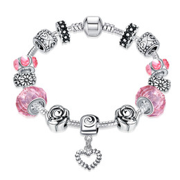 Wholesale Wholesale Glass Beads For Sale - Hot Sale! Heart Charm Bracelet & Bangle Silver Plated Chain With Pink Glass Beads DIY Jewelry For Women Handmade Fashion Best Gift