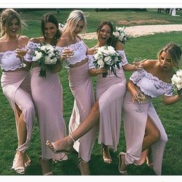 Wholesale Top Bridesmaid Dresses Two Color - Two Piece Off the Shoulder Blue Pink Bridesmaid Dresses 2017 Vinatge Lace Top High Split Side Satin Skirt Maid of Honor Gowns Custom