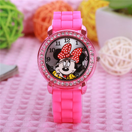 Wholesale Nude Kids - Cartoon Mickey Minnie Mouse Children Watch Fashion Silicone Kids Watches with Rhinestone Diamonds Clock for Girls Ladies Women
