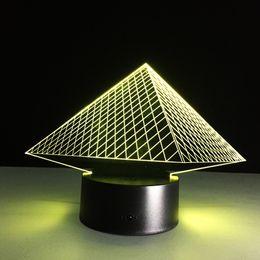 Wholesale Pyramid Retail - 2016 pyramid 3D Optical Illusion Lamp Night Light DC 5V USB AA Battery Wholesale Dropshipping Free Shipping Retail Box