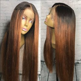Wholesale T1b Wig - Full Lace Human Hair wigs Ombre Two Tone T1B 30 Straight Brazilian Virgin Hair 150 Density Natural Hairline Glueless Bleached Knots