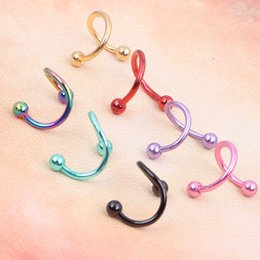 Wholesale Stud Diameter - Twisted Surgical Stainless Steel Nose Hoop Ring 16 gauge 8mm diameter 100pcs 8 color body jewelry piercing tragus Nose