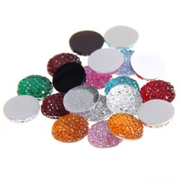 Wholesale crafts embellishments - 8mm-18mm Mixed Colors Round Glue On Resin Beads Flatback Scrapbooking Crafts Non Hotfix Rhinestones DIY Bags Shoes Clothes Embellishment