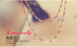 Wholesale Sterling Silver Wave Chains - 18K rose gold plated 18inch 1.2mm wave chain key pendant retro jewelry factory wholesale simple accessories valentines to send girlfriend