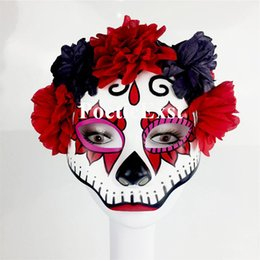 Wholesale Pvc Head Masks - Skull head mask Women ghost masks Festive and party supplies Handmade half-face plastic with flowers Red color Drop shipping