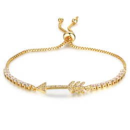 Wholesale bone bracelet gold - Adjustable Fish Bone Gold Color Charm Bangle Bracelet With Cubic Zircon Simulated Diamond Tennis Bracelets For Women