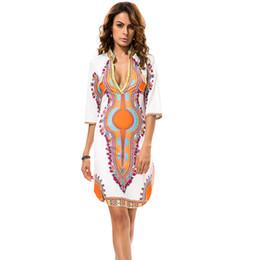 mini split de gros Promotion Gros-Jessie Vinson National Style Imprimer Bandage Mini Dress Deep V-Neck Split Robe courte pour les dames